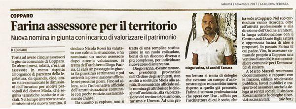 Diego Farina Assessore al Patrimonio, Territorio e delega UNESCO del Comune di Copparo